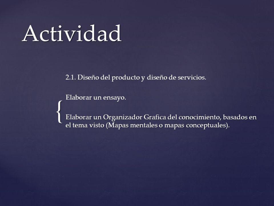 { Actividad 2.1. Diseño del producto y diseño de servicios. Elaborar un ensayo. Elaborar un Organizador Grafica del conocimiento, basados en el tema v