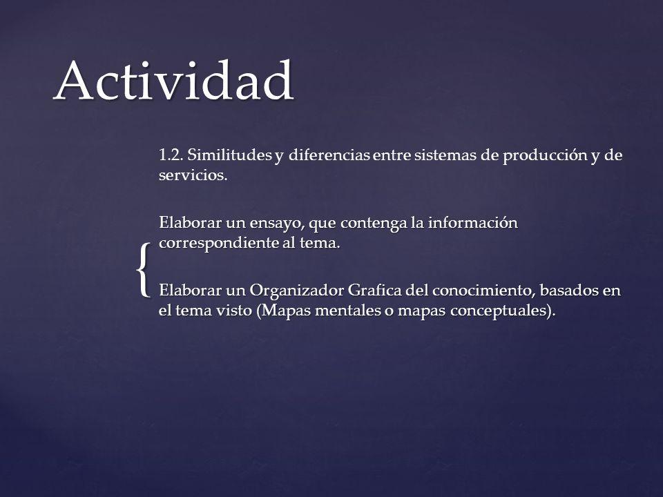 { Actividad 1.2. Similitudes y diferencias entre sistemas de producción y de servicios. Elaborar un ensayo, que contenga la información correspondient