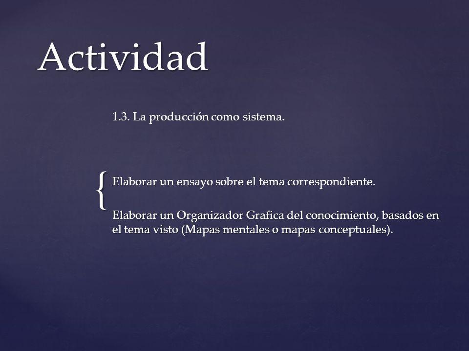 { Actividad 1.3. La producción como sistema. Elaborar un ensayo sobre el tema correspondiente. Elaborar un Organizador Grafica del conocimiento, basad
