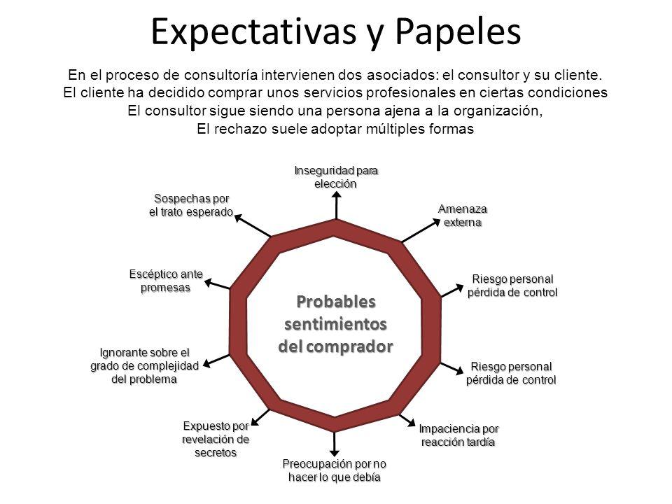 Expectativas y Papeles En el proceso de consultoría intervienen dos asociados: el consultor y su cliente. El cliente ha decidido comprar unos servicio