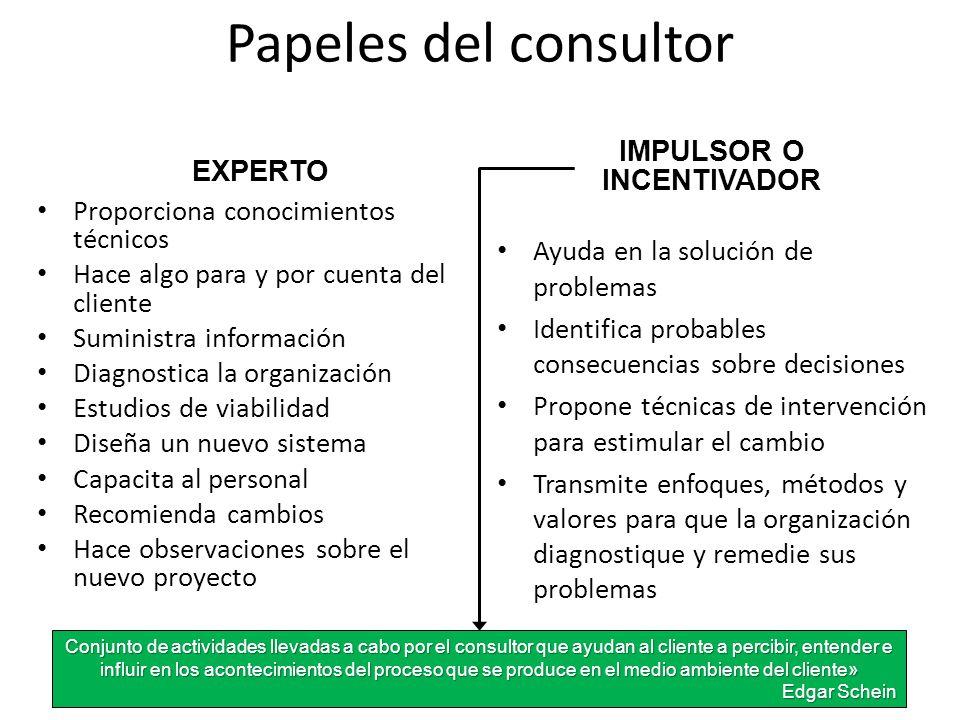 Papeles del consultor EXPERTO Proporciona conocimientos técnicos Hace algo para y por cuenta del cliente Suministra información Diagnostica la organiz