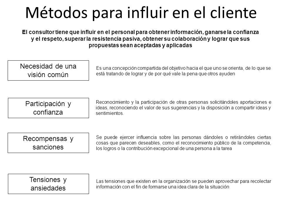 Métodos para influir en el cliente Necesidad de una visión común Participación y confianza Recompensas y sanciones Tensiones y ansiedades Las tensione