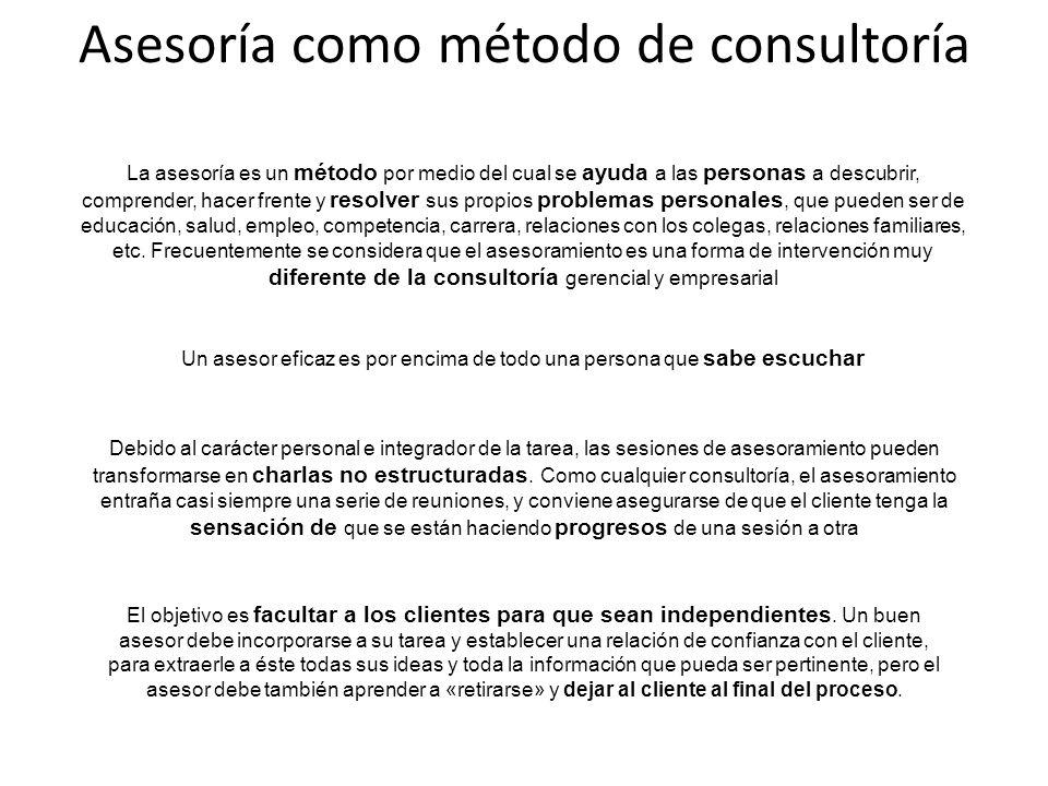 Asesoría como método de consultoría La asesoría es un método por medio del cual se ayuda a las personas a descubrir, comprender, hacer frente y resolv