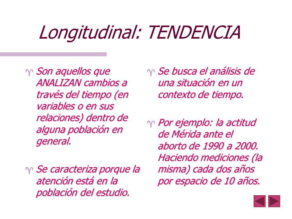 Longitudinal: TENDENCIA ^ Son aquellos que ANALIZAN cambios a través del tiempo (en variables o en sus relaciones) dentro de alguna población en gener