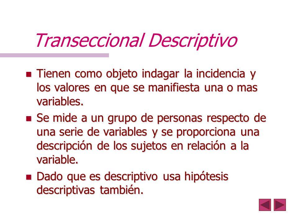 Transeccional Descriptivo n Tienen como objeto indagar la incidencia y los valores en que se manifiesta una o mas variables. n Se mide a un grupo de p