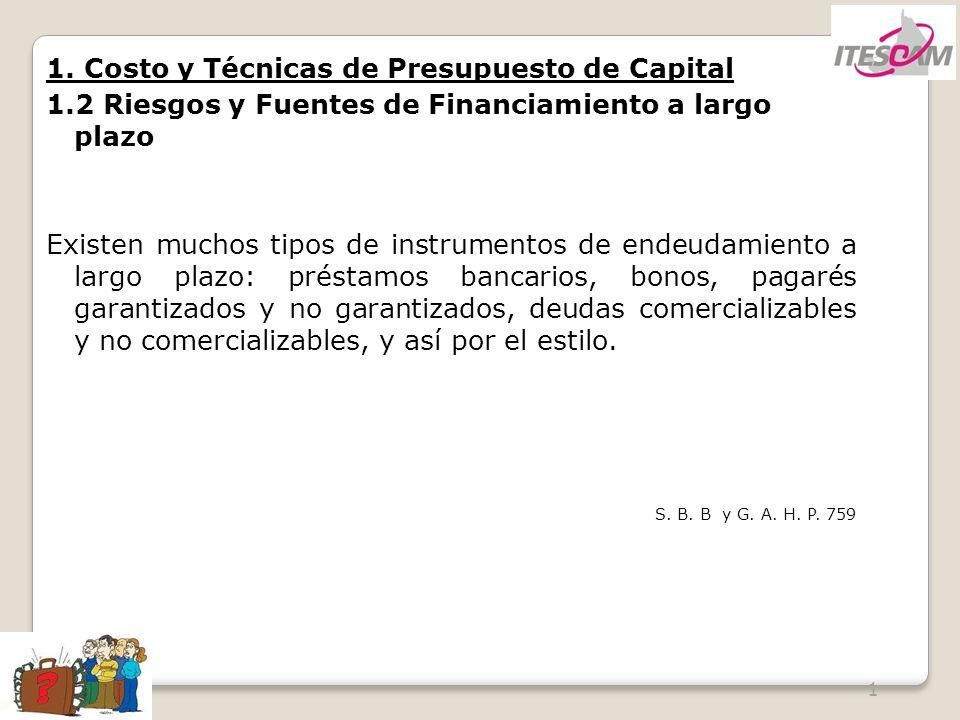 1 1. Costo y Técnicas de Presupuesto de Capital 1.2 Riesgos y Fuentes de Financiamiento a largo plazo Existen muchos tipos de instrumentos de endeudam