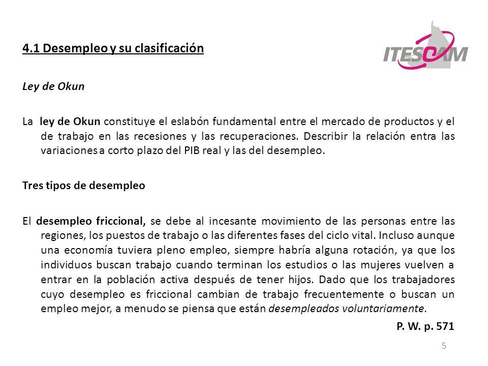 5 4.1 Desempleo y su clasificación Ley de Okun La ley de Okun constituye el eslabón fundamental entre el mercado de productos y el de trabajo en las r