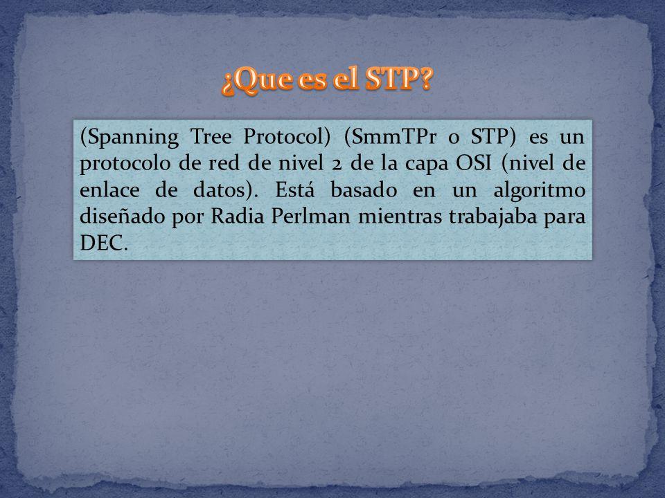 (Spanning Tree Protocol) (SmmTPr o STP) es un protocolo de red de nivel 2 de la capa OSI (nivel de enlace de datos). Está basado en un algoritmo diseñ