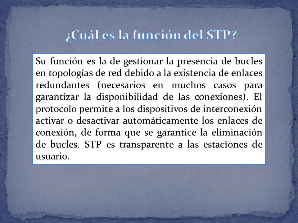 Su función es la de gestionar la presencia de bucles en topologías de red debido a la existencia de enlaces redundantes (necesarios en muchos casos pa
