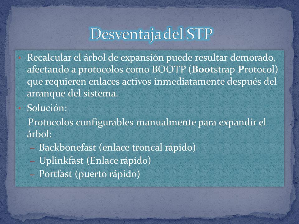 Recalcular el árbol de expansión puede resultar demorado, afectando a protocolos como BOOTP (Bootstrap Protocol) que requieren enlaces activos inmedia