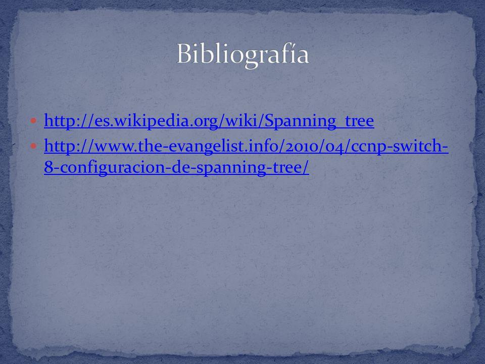 http://es.wikipedia.org/wiki/Spanning_tree http://www.the-evangelist.info/2010/04/ccnp-switch- 8-configuracion-de-spanning-tree/ http://www.the-evange