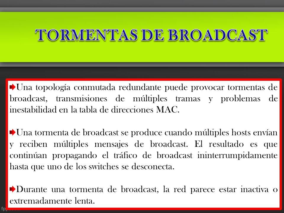 Una topología conmutada redundante puede provocar tormentas de broadcast, transmisiones de múltiples tramas y problemas de inestabilidad en la tabla d