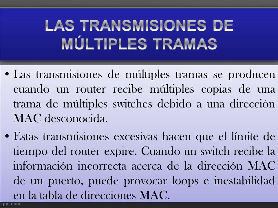 Las transmisiones de múltiples tramas se producen cuando un router recibe múltiples copias de una trama de múltiples switches debido a una dirección M