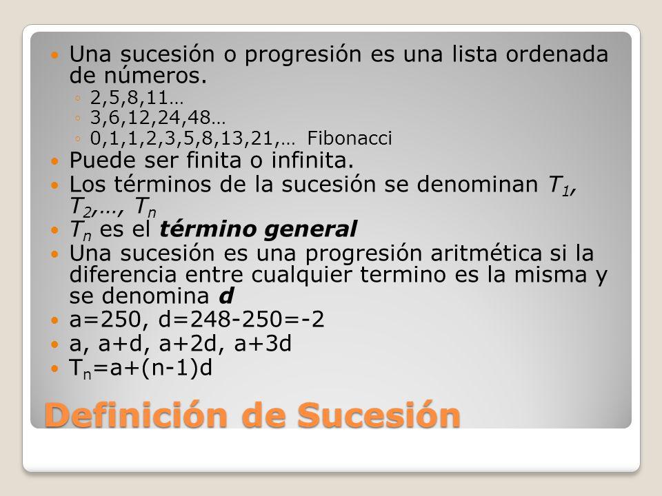 Definición de Sucesión Una sucesión o progresión es una lista ordenada de números.
