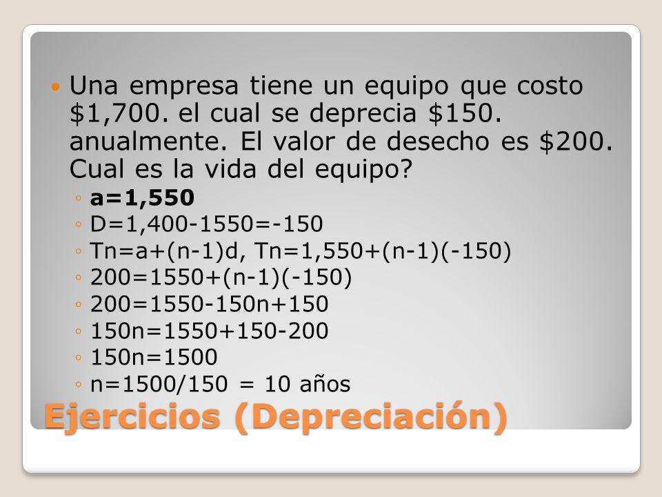 Ejercicios (Depreciación) Una empresa tiene un equipo que costo $1,700.
