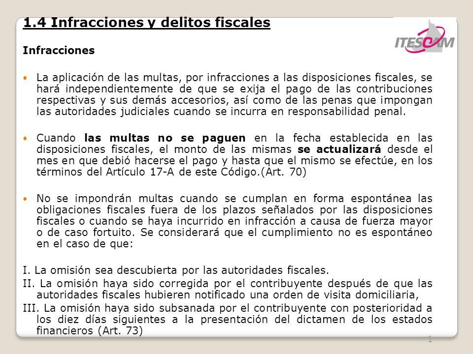 12 1.4 Infracciones y delitos fiscales Infracciones Son infracciones relacionadas con la obligación de pago de las contribuciones, así como de presentación de declaraciones, solicitudes, documentación, avisos, información o expedir constancias: Art.