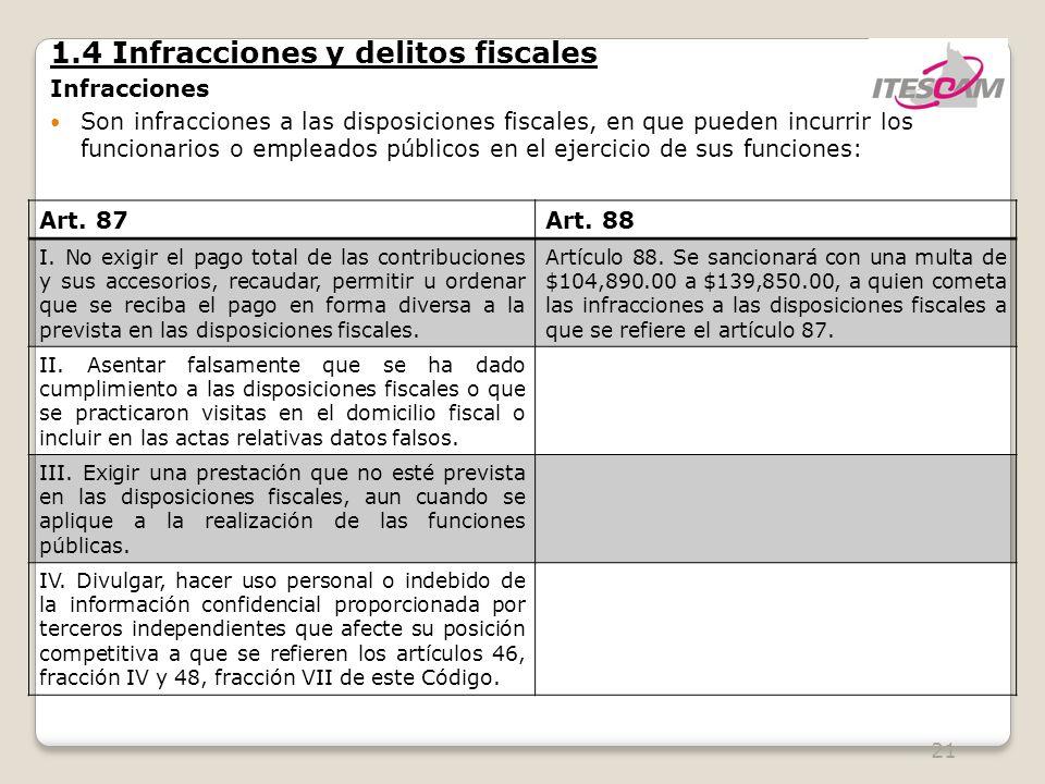 21 1.4 Infracciones y delitos fiscales Infracciones Son infracciones a las disposiciones fiscales, en que pueden incurrir los funcionarios o empleados públicos en el ejercicio de sus funciones: Art.