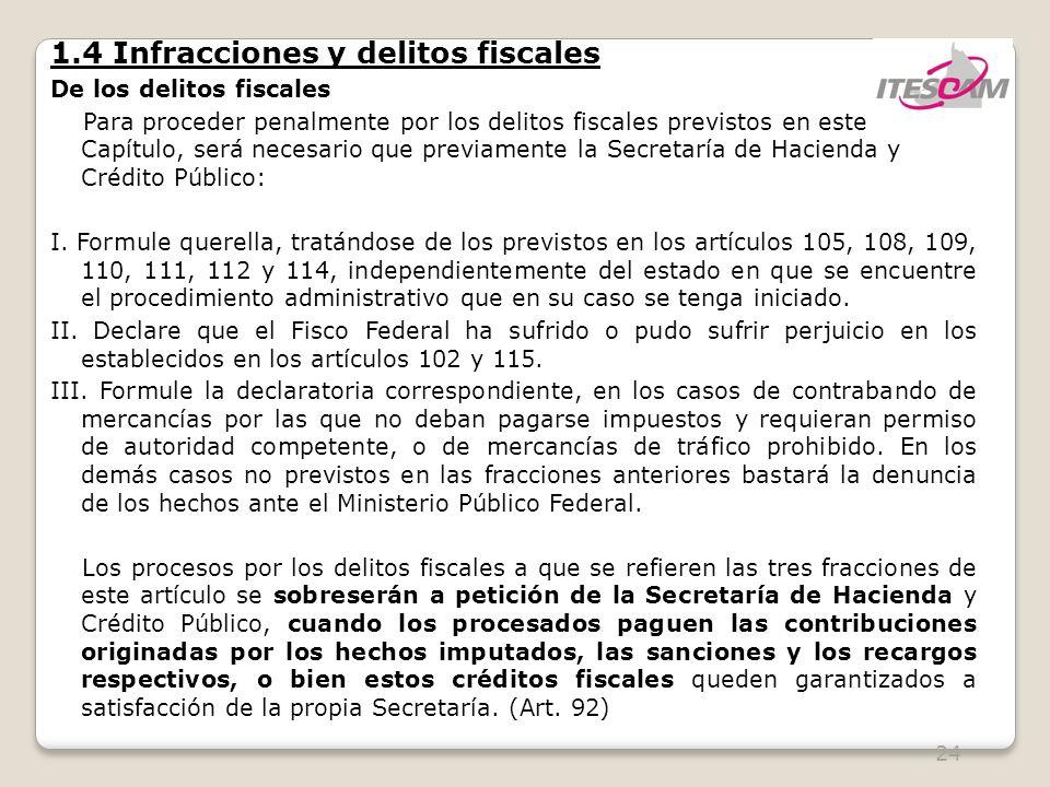 24 1.4 Infracciones y delitos fiscales De los delitos fiscales Para proceder penalmente por los delitos fiscales previstos en este Capítulo, será necesario que previamente la Secretaría de Hacienda y Crédito Público: I.