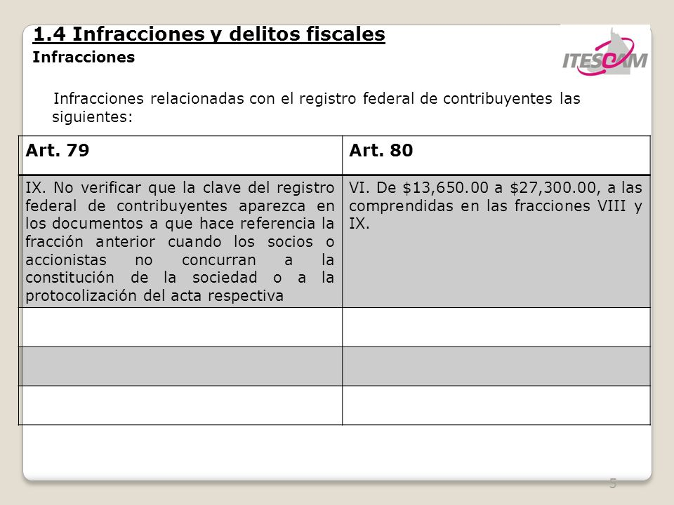6 1.4 Infracciones y delitos fiscales Infracciones Son infracciones relacionadas con la obligación de pago de las contribuciones, así como de presentación de declaraciones, solicitudes, documentación, avisos, información o expedir constancias: Art.