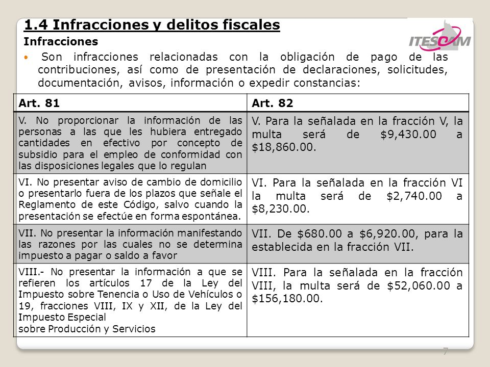 7 1.4 Infracciones y delitos fiscales Infracciones Son infracciones relacionadas con la obligación de pago de las contribuciones, así como de presentación de declaraciones, solicitudes, documentación, avisos, información o expedir constancias: Art.
