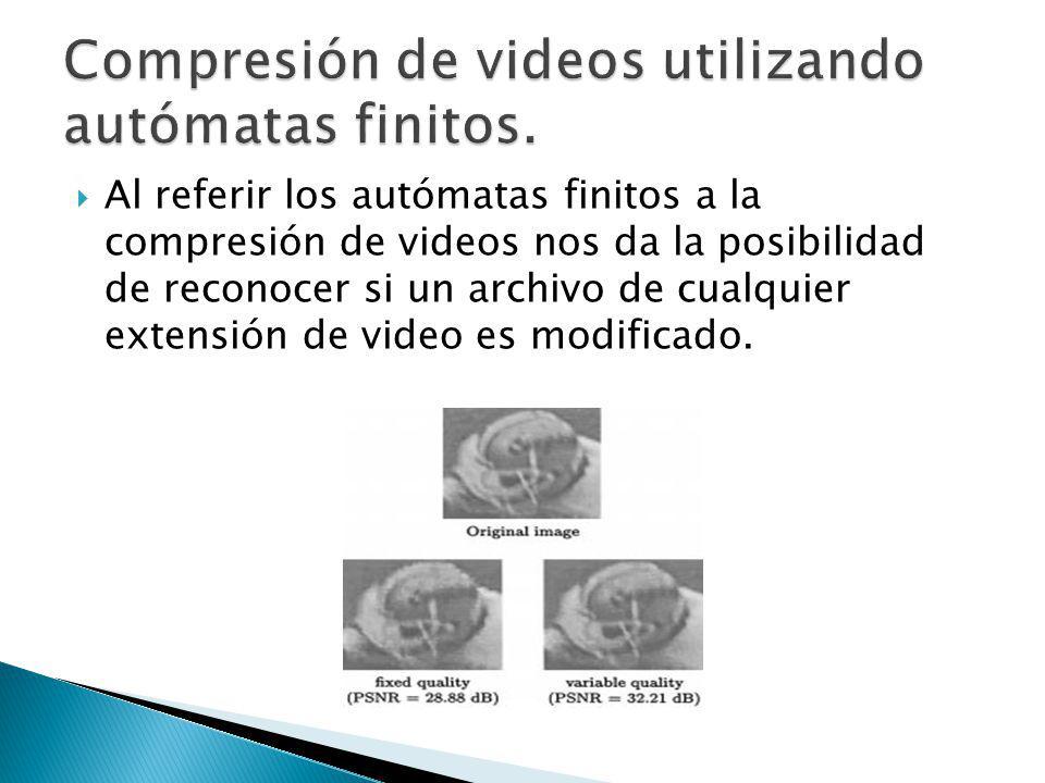 Al referir los autómatas finitos a la compresión de videos nos da la posibilidad de reconocer si un archivo de cualquier extensión de video es modific