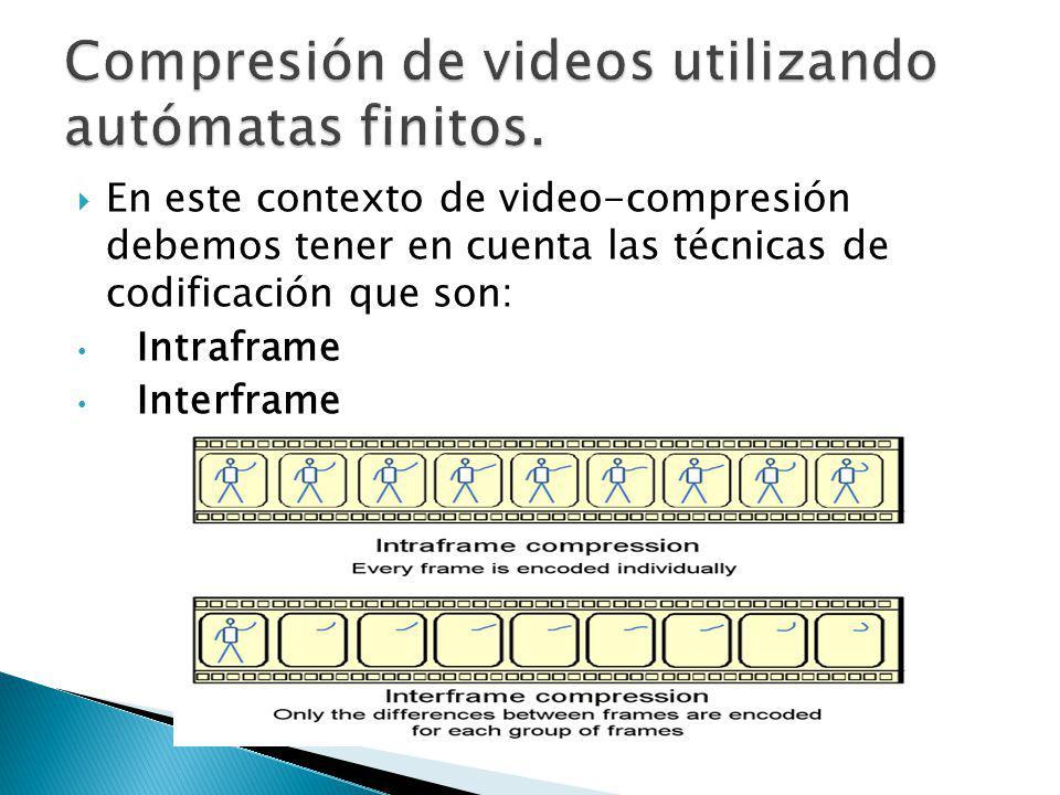 En este contexto de video-compresión debemos tener en cuenta las técnicas de codificación que son: Intraframe Interframe