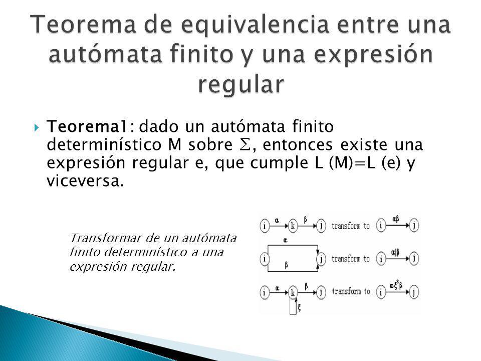 Teorema1: dado un autómata finito determinístico M sobre, entonces existe una expresión regular e, que cumple L (M)=L (e) y viceversa. Transformar de