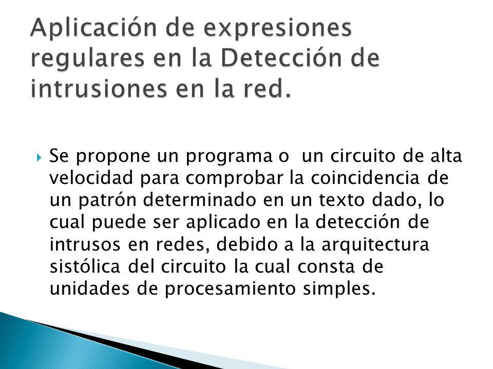Este proyecto trata del reconocimiento de una determinada subclase de una determinada expresión regular, el patrón es puesto en el circuito antes de iniciar la comprobación de coincidencia y el texto para ser recuperado se introduce en el circuito carácter por carácter.