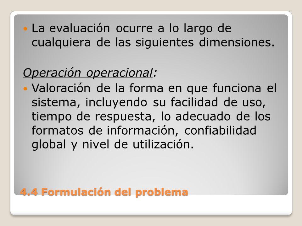 4.4 Formulación del problema Impacto organizacional: Identificación y medición de los beneficios para la organización en áreas tales como finanzas (costos, ingresos y ganancias), eficiencia operacional e impacto competitivo.
