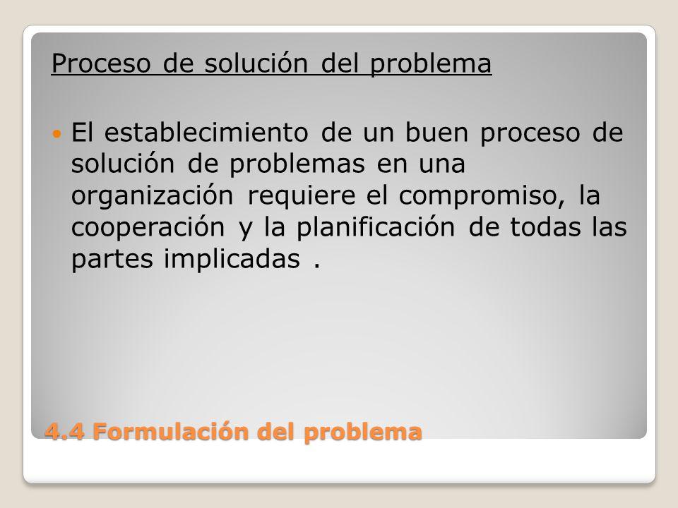 4.4 Formulación del problema Un error en un sistema de producción puede no ser cuestión de vida o muerte, pero sí puede significar una importante pérdida para el negocio.
