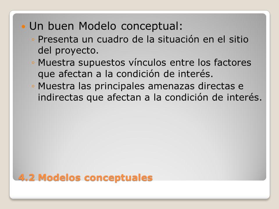 4.2 Modelos conceptuales Presenta sólo factores relevantes.