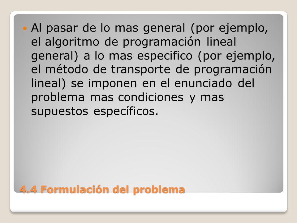 4.4 Formulación del problema El algoritmo de programación integral es a su vez mas especifico (y por tanto, menos general) que los otros dos, debido a que este impone una condición adicional en el enunciado del problema, al requerir que las soluciones factibles sean números enteros.