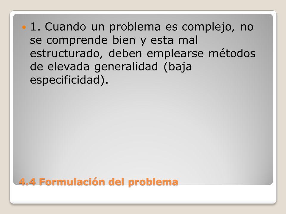 4.4 Formulación del problema Esto se acopla generalmente con poca fuerza y poca probabilidad de éxito.