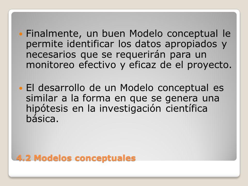 4.2 Modelos conceptuales Al ir conectando los factores entre sí, las actividades de proyecto a los factores y los factores a la condición de interés, se está suponiendo (o está formulando una hipótesis) que esas relaciones son verdaderas.