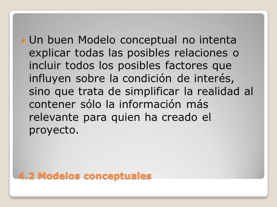 4.2 Modelos conceptuales Una de las dificultades en la creación de modelos es la de incluir suficiente información para explicar lo que influye sobre la condición de interés sin incluir tanta información que los factores o las relaciones cruciales queden oscurecidos.