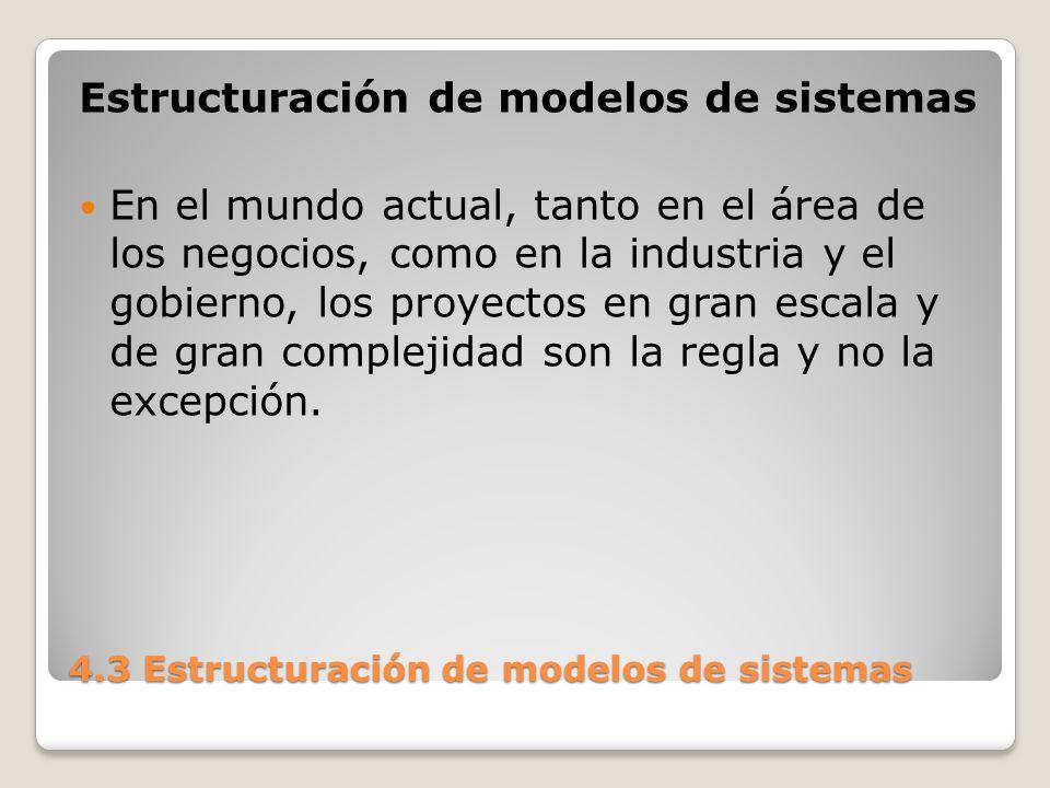 4.3 Estructuración de modelos de sistemas Estos proyectos complejos requieren estudios previos a su construcción o modificación, denominados estudios pilotos.