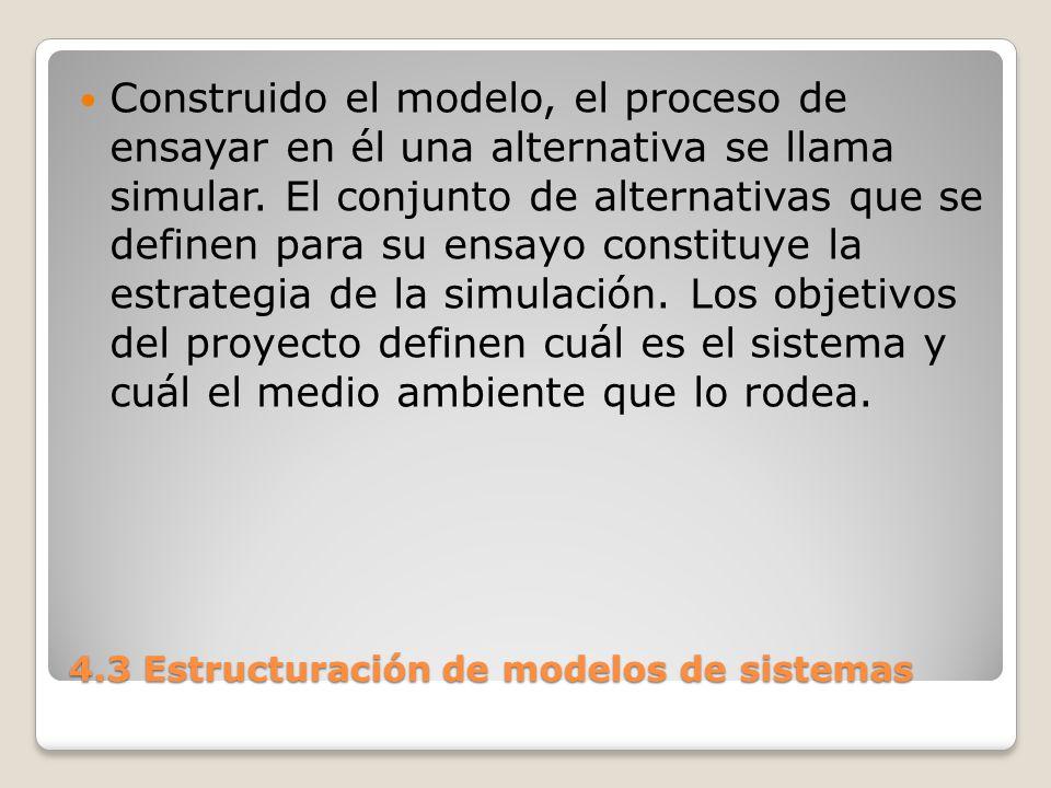 4.3 Estructuración de modelos de sistemas La simulación de sistemas implica la construcción de modelos.