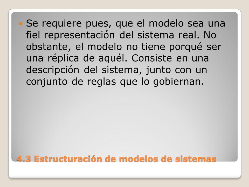 4.3 Estructuración de modelos de sistemas La descripción del sistema puede ser abstracta, física o simplemente verbal.