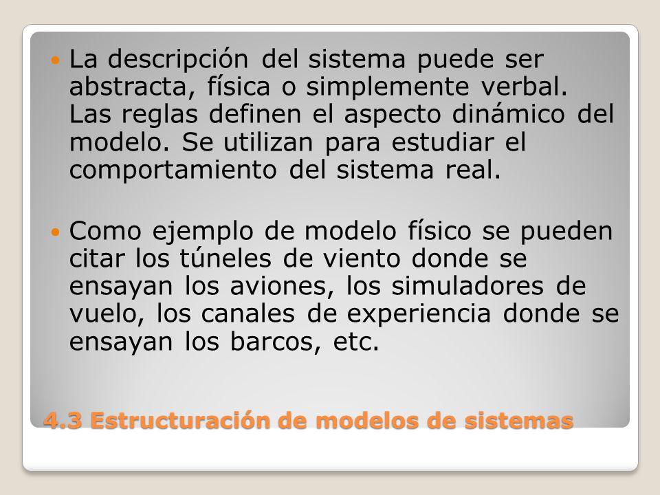 4.3 Estructuración de modelos de sistemas Como ejemplo de modelo abstracto, se pueden citar los modelos econométricos donde, entre otras cosas, se pueden ensayar las consecuencias de medidas económicas antes de aplicarlas.