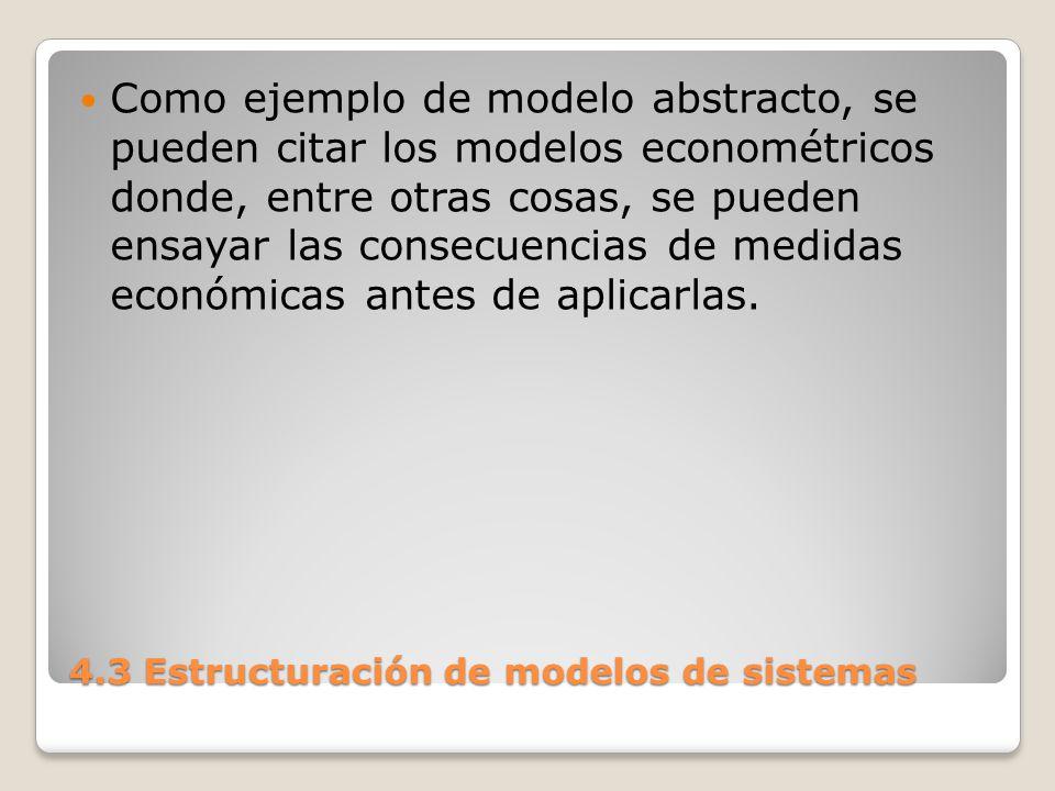 4.3 Estructuración de modelos de sistemas Dado un sistema, son muchas las representaciones que se pueden hacer de él.