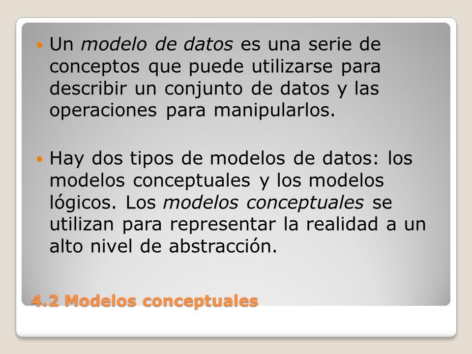 4.2 Modelos conceptuales Mediante los modelos conceptuales se puede construir una descripción de la realidad fácil de entender.