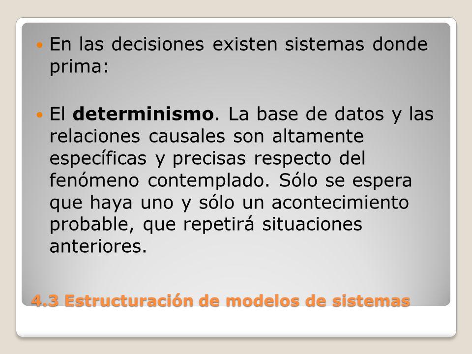 4.3 Estructuración de modelos de sistemas Se tiene una identidad efectiva entre los estados a priori y los que realmente se producen.