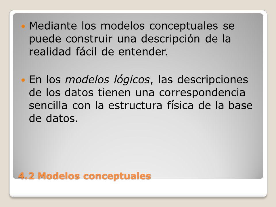 4.2 Modelos conceptuales En el diseño de bases de datos se usan primero los modelos conceptuales para lograr una descripción de alto nivel de la realidad, y luego se transforma el esquema conceptual en un esquema lógico.