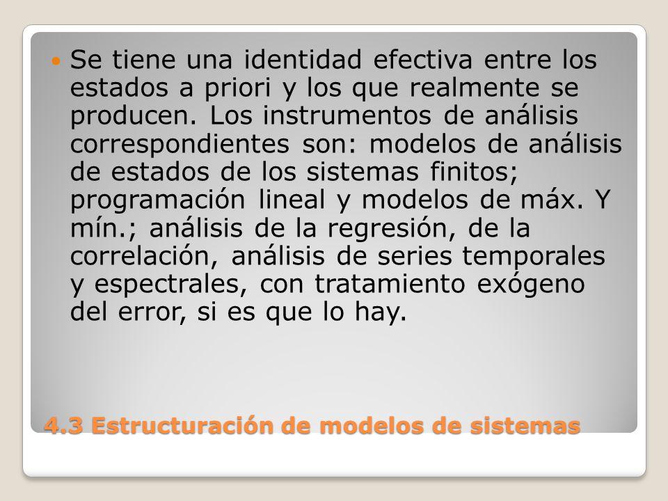 4.3 Estructuración de modelos de sistemas Una Estocasticidad moderada: la variación de las variables y parámetros intervinientes tienen un margen pre- especificado y manejable.