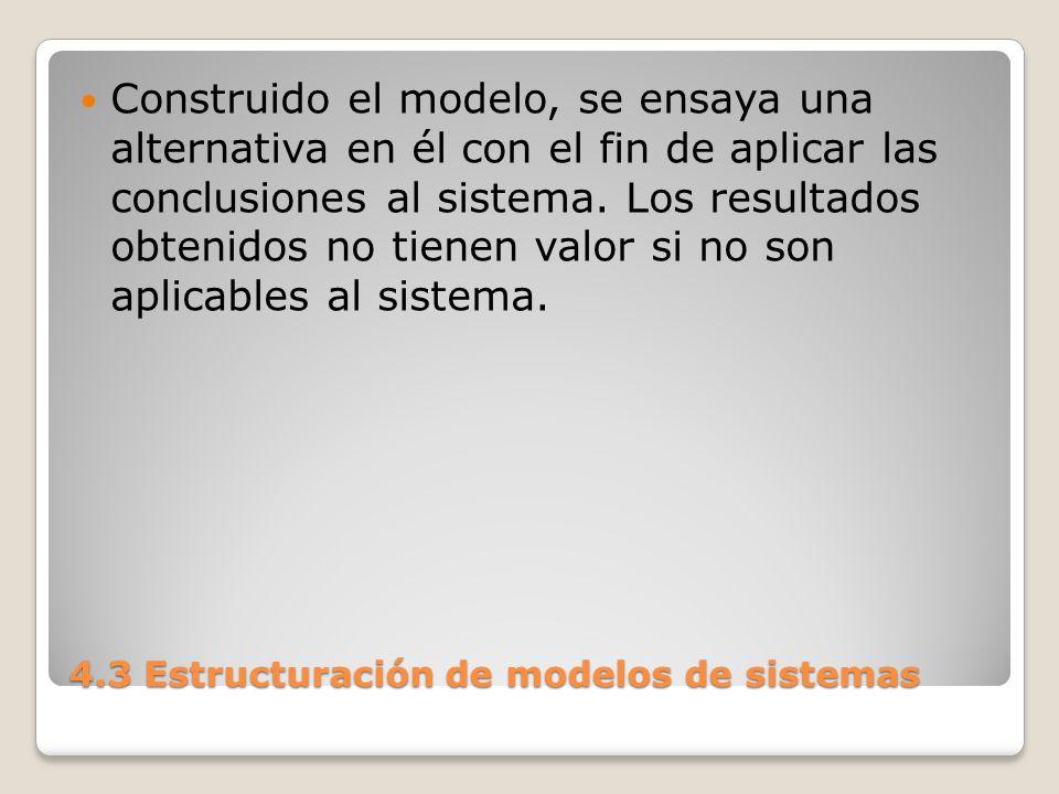 4.3 Estructuración de modelos de sistemas La simulación se emplea sólo cuando no existe otra técnica que permita encarar la resolución de un problema.