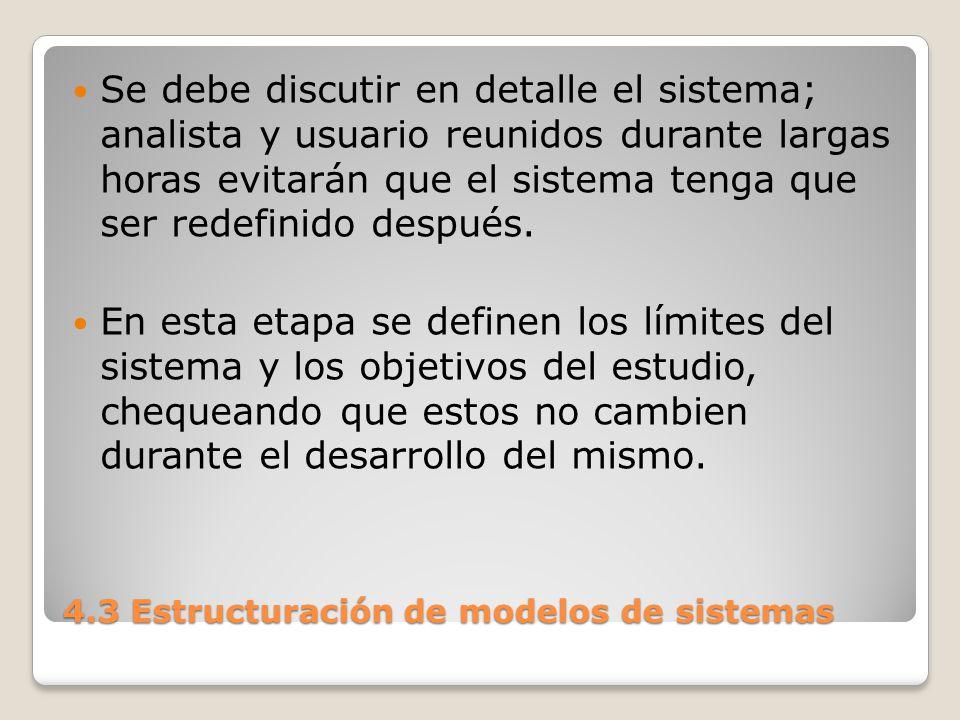 4.3 Estructuración de modelos de sistemas Deben tenerse en cuenta las condiciones iniciales del sistema y sus condiciones de régimen.