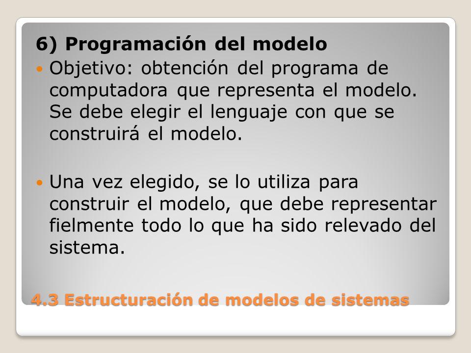 4.3 Estructuración de modelos de sistemas 7) Validación del modelo Aunque imposible de demostrar rigurosamente se trata de verificar al modelo con una serie de situaciones conocidas como para tener un alto grado de confiabilidad.