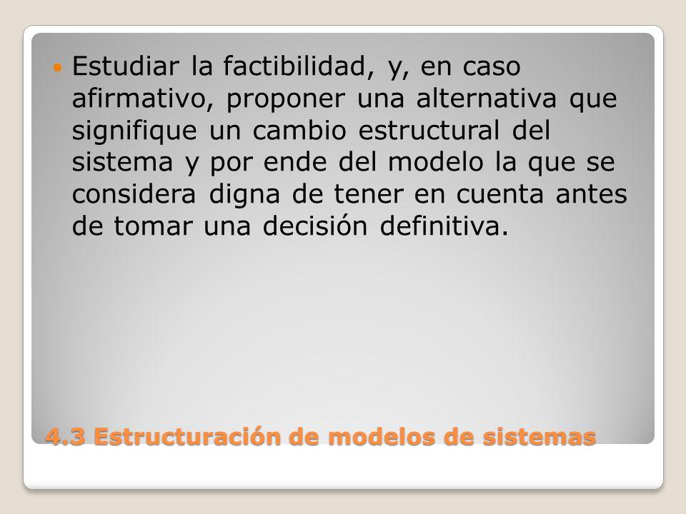4.3 Estructuración de modelos de sistemas Un lenguaje orientado a la simulación debe manejar: Fácilmente al modelo, permitiendo el ensayo de alternativas.