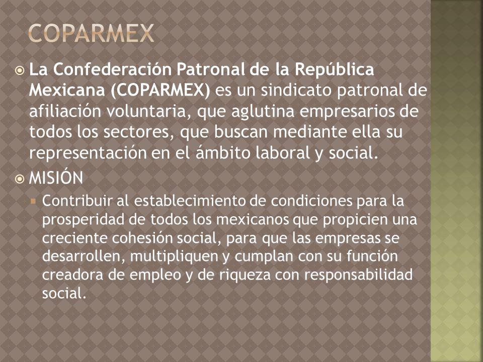 La Confederación Patronal de la República Mexicana (COPARMEX) es un sindicato patronal de afiliación voluntaria, que aglutina empresarios de todos los sectores, que buscan mediante ella su representación en el ámbito laboral y social.