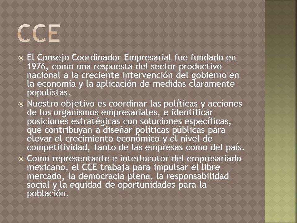 El Consejo Coordinador Empresarial fue fundado en 1976, como una respuesta del sector productivo nacional a la creciente intervención del gobierno en la economía y la aplicación de medidas claramente populistas.